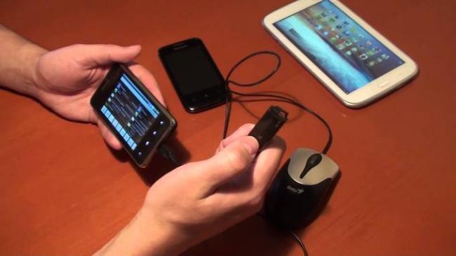 Мышь может быть подключена при помощи адаптера